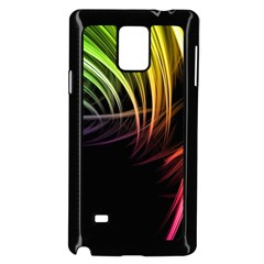 Colorful Abstract Fantasy Modern Green Gold Purple Light Black Line Samsung Galaxy Note 4 Case (black) by Mariart