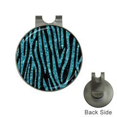 Skin4 Black Marble & Blue Green Water (r) Golf Ball Marker Hat Clip by trendistuff