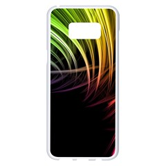 Colorful Abstract Fantasy Modern Green Gold Purple Light Black Line Samsung Galaxy S8 Plus White Seamless Case by Mariart