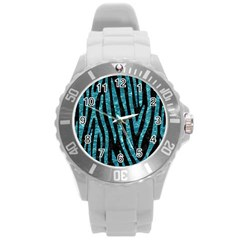 Skin4 Black Marble & Blue Green Water (r) Round Plastic Sport Watch (l) by trendistuff