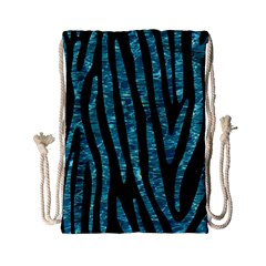 Skin4 Black Marble & Blue Green Water (r) Drawstring Bag (small) by trendistuff