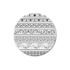 Black White Decorative Ornaments Magnet 3  (round) by Mariart