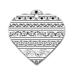 Black White Decorative Ornaments Dog Tag Heart (two Sides) by Mariart