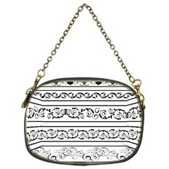 Black White Decorative Ornaments Chain Purses (one Side)  by Mariart