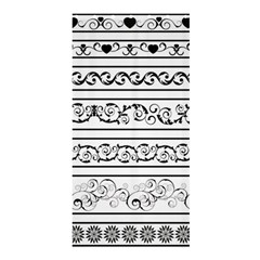 Black White Decorative Ornaments Shower Curtain 36  X 72  (stall)  by Mariart