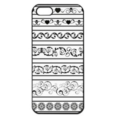 Black White Decorative Ornaments Apple Iphone 5 Seamless Case (black) by Mariart