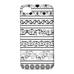 Black White Decorative Ornaments Apple Iphone 4/4s Hardshell Case With Stand by Mariart