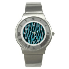 Skin4 Black Marble & Blue Green Water Stainless Steel Watch