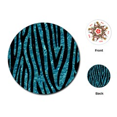 Skin4 Black Marble & Blue Green Water Playing Cards (round) by trendistuff