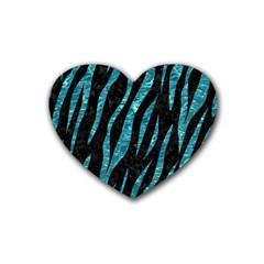 Skin3 Black Marble & Blue Green Water Rubber Coaster (heart) by trendistuff