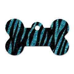 Skin3 Black Marble & Blue Green Water Dog Tag Bone (two Sides) by trendistuff