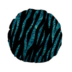 Skin3 Black Marble & Blue Green Water Standard 15  Premium Round Cushion  by trendistuff