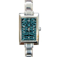 Skin2 Black Marble & Blue Green Water (r) Rectangle Italian Charm Watch by trendistuff