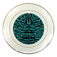 Skin2 Black Marble & Blue Green Water (r) Porcelain Plate by trendistuff
