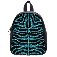 Skin2 Black Marble & Blue Green Water School Bag (small) by trendistuff