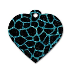 Skin1 Black Marble & Blue Green Water (r) Dog Tag Heart (two Sides) by trendistuff