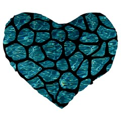 Skin1 Black Marble & Blue Green Water Large 19  Premium Flano Heart Shape Cushion by trendistuff