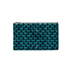 Scales3 Black Marble & Blue Green Water (r) Cosmetic Bag (small) by trendistuff