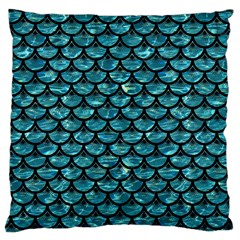 Scales3 Black Marble & Blue Green Water (r) Large Cushion Case (two Sides) by trendistuff