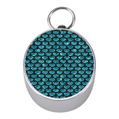 Scales3 Black Marble & Blue Green Water (r) Silver Compass (mini) by trendistuff