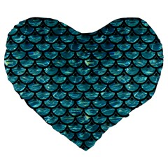 Scales3 Black Marble & Blue Green Water (r) Large 19  Premium Flano Heart Shape Cushion by trendistuff