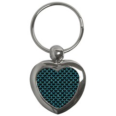 Scales3 Black Marble & Blue Green Water Key Chain (heart) by trendistuff