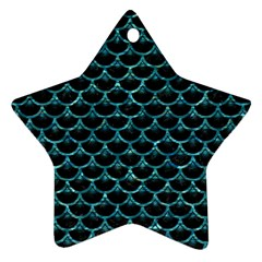 Scales3 Black Marble & Blue Green Water Star Ornament (two Sides) by trendistuff