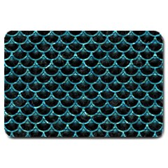 Scales3 Black Marble & Blue Green Water Large Doormat by trendistuff