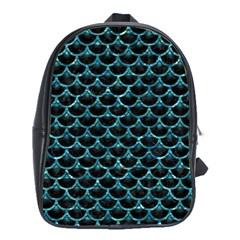 Scales3 Black Marble & Blue Green Water School Bag (xl) by trendistuff