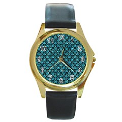 Scales2 Black Marble & Blue Green Water (r) Round Gold Metal Watch by trendistuff