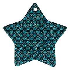 Scales2 Black Marble & Blue Green Water (r) Star Ornament (two Sides) by trendistuff