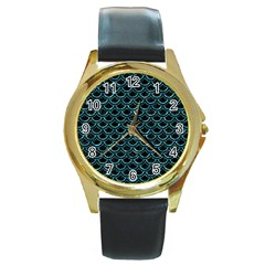 Scales2 Black Marble & Blue Green Water Round Gold Metal Watch by trendistuff