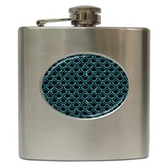 Scales2 Black Marble & Blue Green Water Hip Flask (6 Oz) by trendistuff