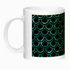 Scales2 Black Marble & Blue Green Water Night Luminous Mug by trendistuff