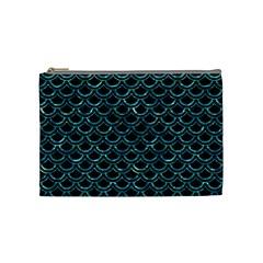 Scales2 Black Marble & Blue Green Water Cosmetic Bag (medium) by trendistuff