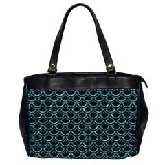 Scales2 Black Marble & Blue Green Water Oversize Office Handbag (2 Sides) by trendistuff