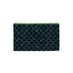 Scales2 Black Marble & Blue Green Water Cosmetic Bag (xs) by trendistuff