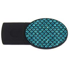 Scales1 Black Marble & Blue Green Water (r) Usb Flash Drive Oval (4 Gb) by trendistuff