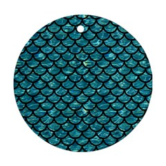 Scales1 Black Marble & Blue Green Water (r) Round Ornament (two Sides) by trendistuff