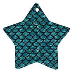 Scales1 Black Marble & Blue Green Water (r) Star Ornament (two Sides) by trendistuff