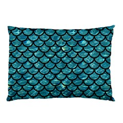 Scales1 Black Marble & Blue Green Water (r) Pillow Case by trendistuff