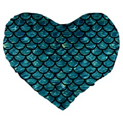 Scales1 Black Marble & Blue Green Water (r) Large 19  Premium Flano Heart Shape Cushion by trendistuff