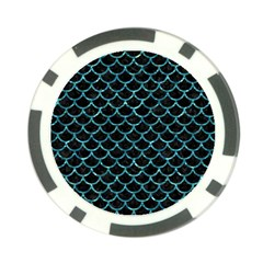 Scales1 Black Marble & Blue Green Water Poker Chip Card Guard
