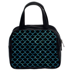 Scales1 Black Marble & Blue Green Water Classic Handbag (two Sides) by trendistuff