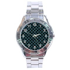 Scales1 Black Marble & Blue Green Water Stainless Steel Analogue Watch by trendistuff