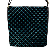 Scales1 Black Marble & Blue Green Water Flap Closure Messenger Bag (l) by trendistuff