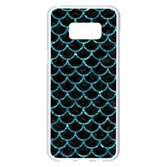 Scales1 Black Marble & Blue Green Water Samsung Galaxy S8 Plus White Seamless Case by trendistuff