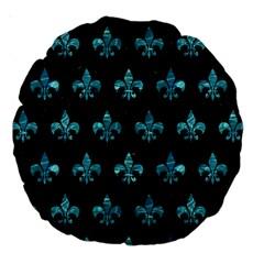 Royal1 Black Marble & Blue Green Water (r) Large 18  Premium Round Cushion  by trendistuff