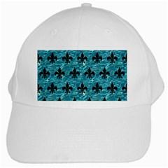 Royal1 Black Marble & Blue Green Water White Cap by trendistuff