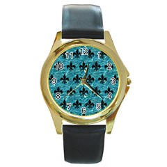 Royal1 Black Marble & Blue Green Water Round Gold Metal Watch by trendistuff